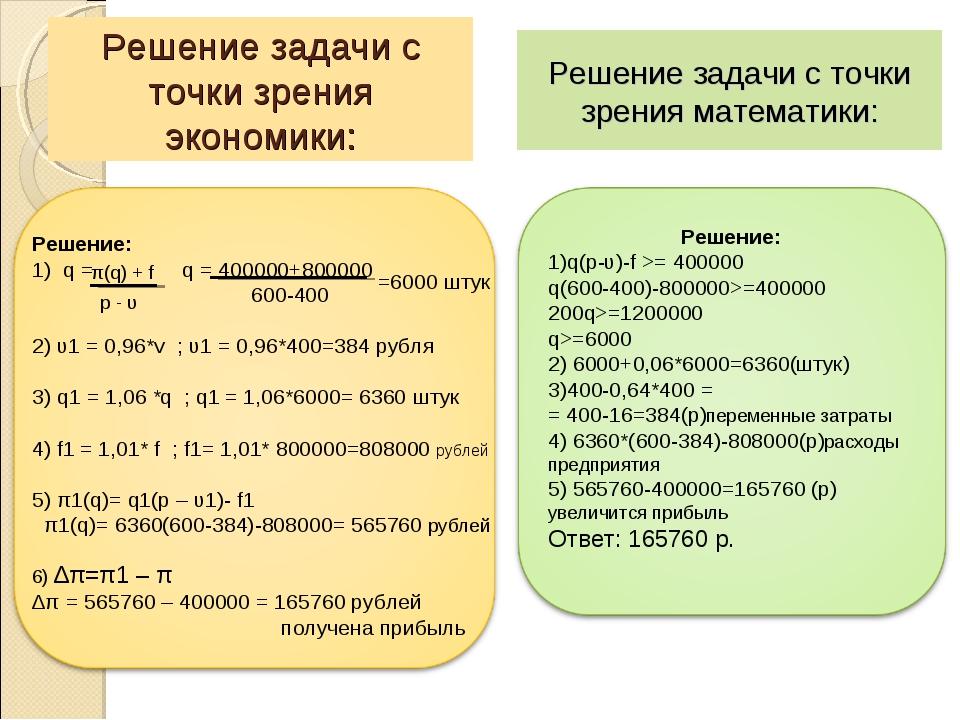 Решение задачи с точки зрения экономики: Решение задачи с точки зрения матема...
