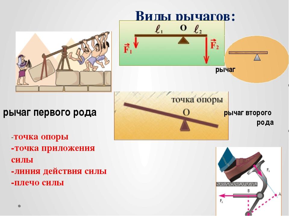 Виды рычагов: -точка опоры -точка приложения силы -линия действия силы -плечо...