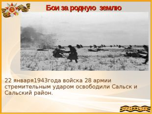 Бои за родную землю 22 января1943года войска 28 армии стремительным ударом ос