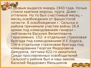 Суровым выдался январь 1943 года. Ночью стояли крепкие морозы, пурга. Днем –