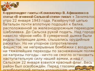 Корреспондент газеты «Комсомолец» В. Афанасенко в статье «В огненной Сальской