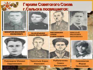 Героям Советского Союза г.Сальска посвящается: