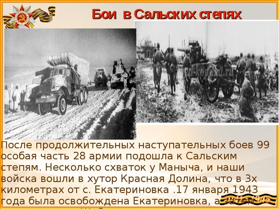 Бои в Сальских степях После продолжительных наступательных боев 99 особая час...