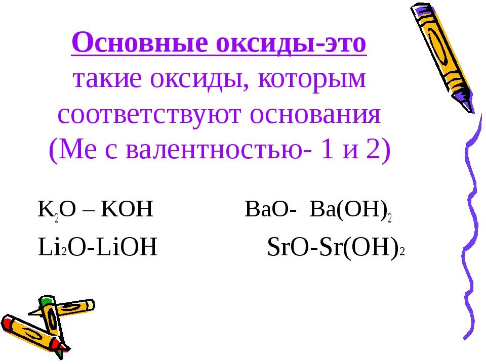Основные оксиды-это такие оксиды, которым соответствуют основания (Ме с вален...