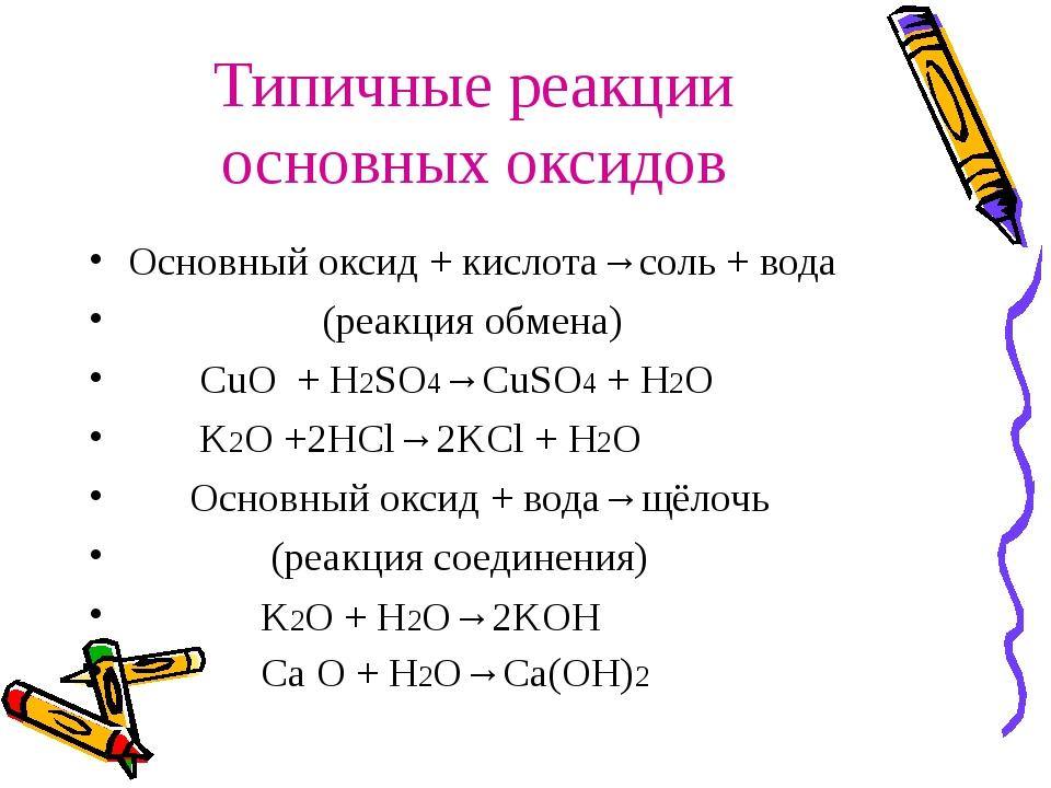 Типичные реакции основных оксидов Основный оксид + кислота→соль + вода (реакц...