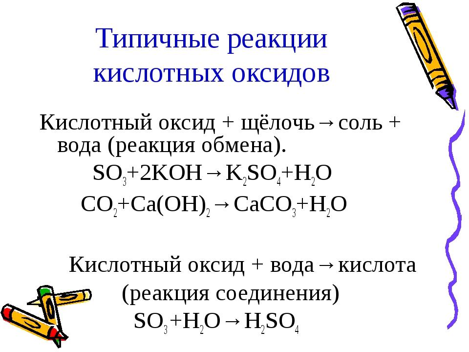 Типичные реакции кислотных оксидов Кислотный оксид + щёлочь→соль + вода (реак...