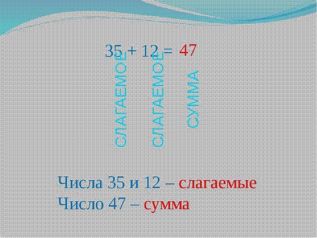 35 + 12 = Числа 35 и 12 – слагаемые Число 47 – сумма 47 СЛАГАЕМОЕ СЛАГАЕМОЕ С...