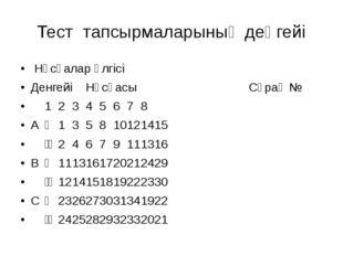 Тест тапсырмаларының деңгейі Нұсқалар үлгісі ДенгейіНұсқасы Сұрақ № 123
