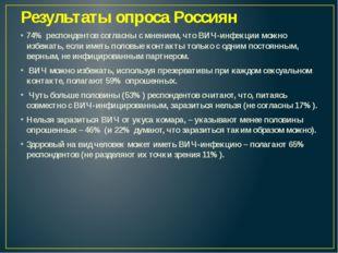 Результаты опроса Россиян 74% респондентов согласны с мнением, что ВИЧ-инфекц
