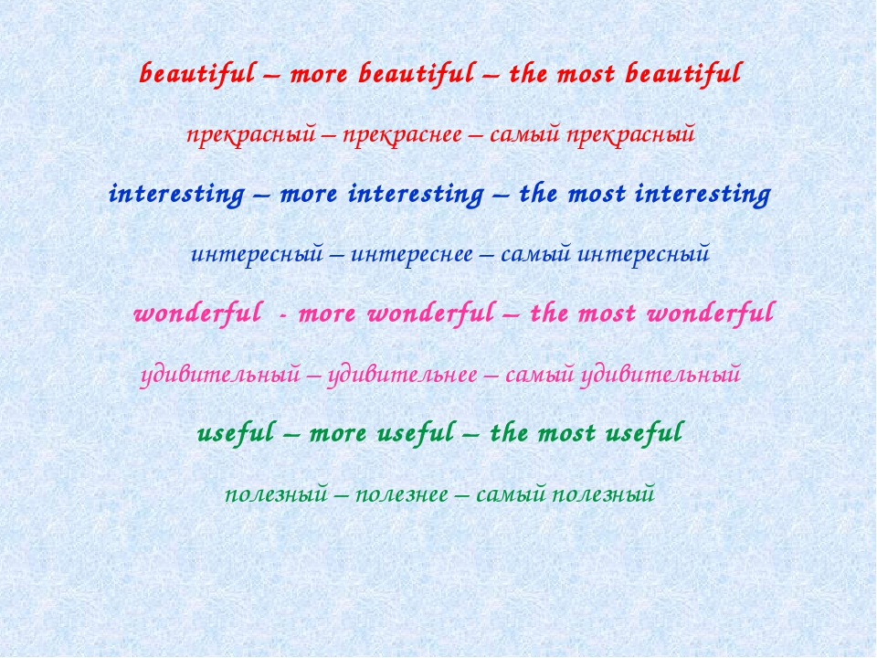 beautiful – more beautiful – the most beautiful прекрасный – прекраснее – са...