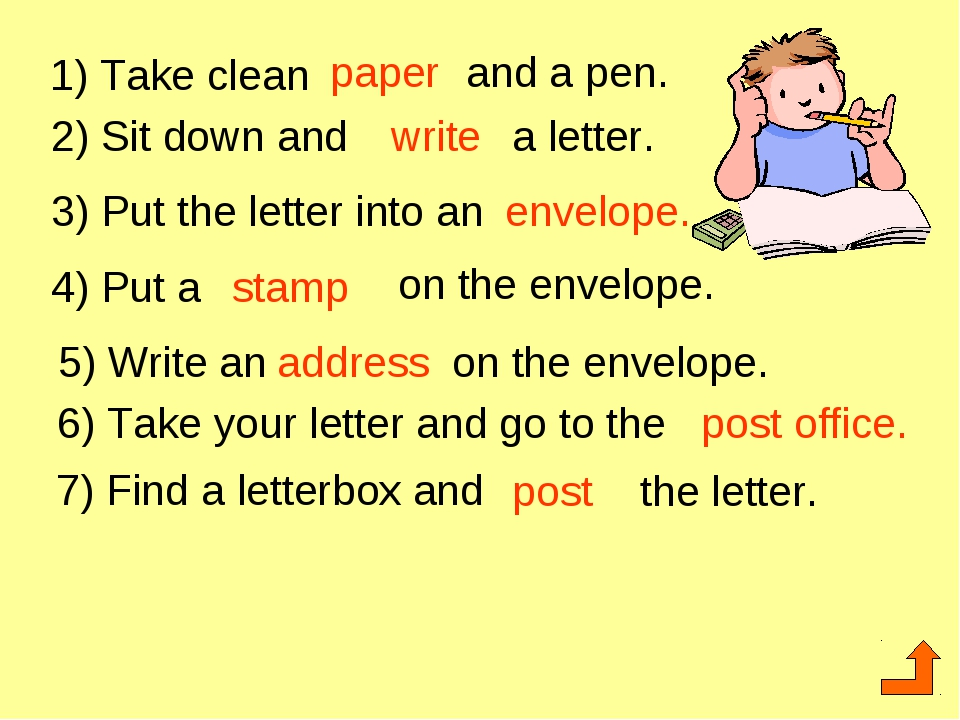 1) Take clean paper and a pen. 2) Sit down and write a letter. 3) Put the let...