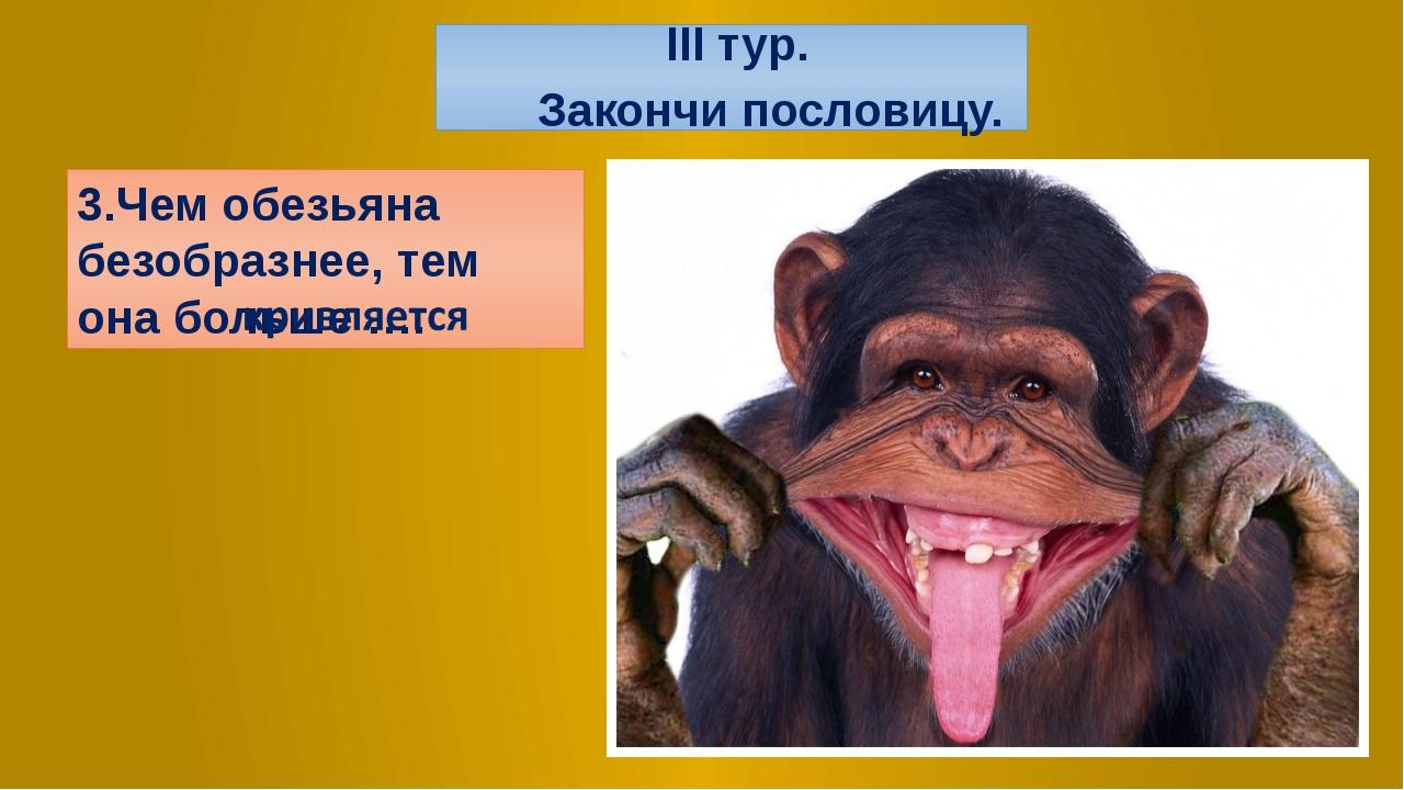 3.Чем обезьяна безобразнее, тем она больше …. III тур. Закончи пословицу.