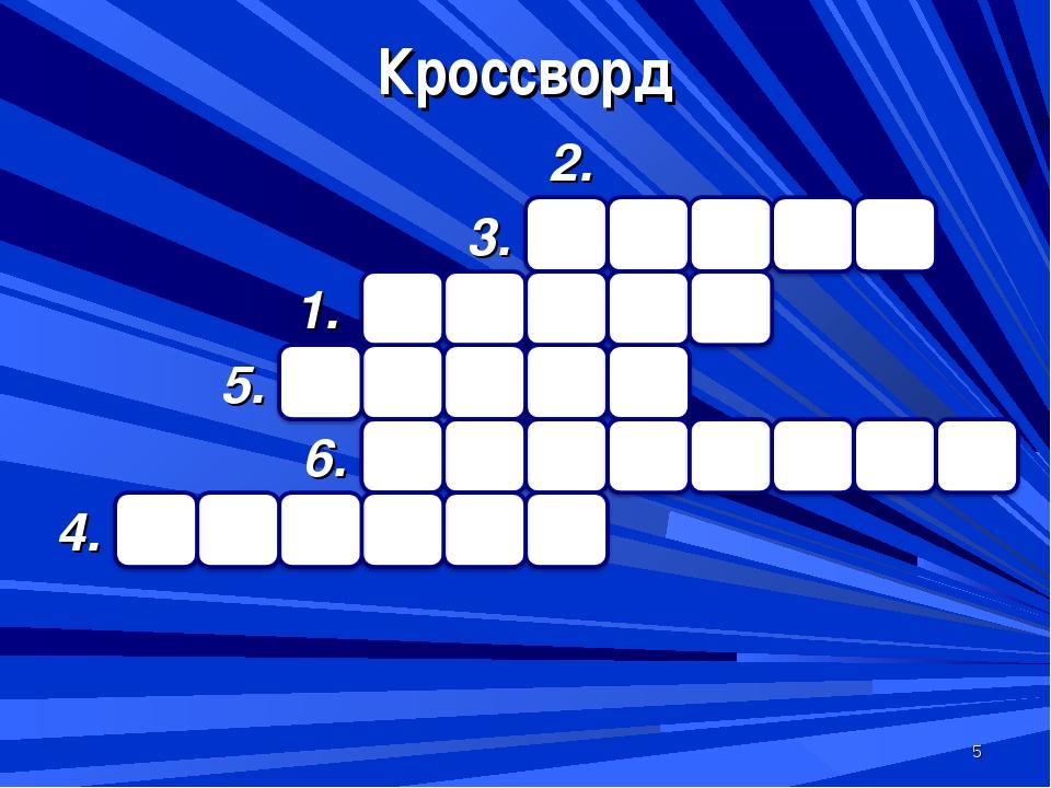 * Кроссворд 3. 2. 1. 5. 6. 4.