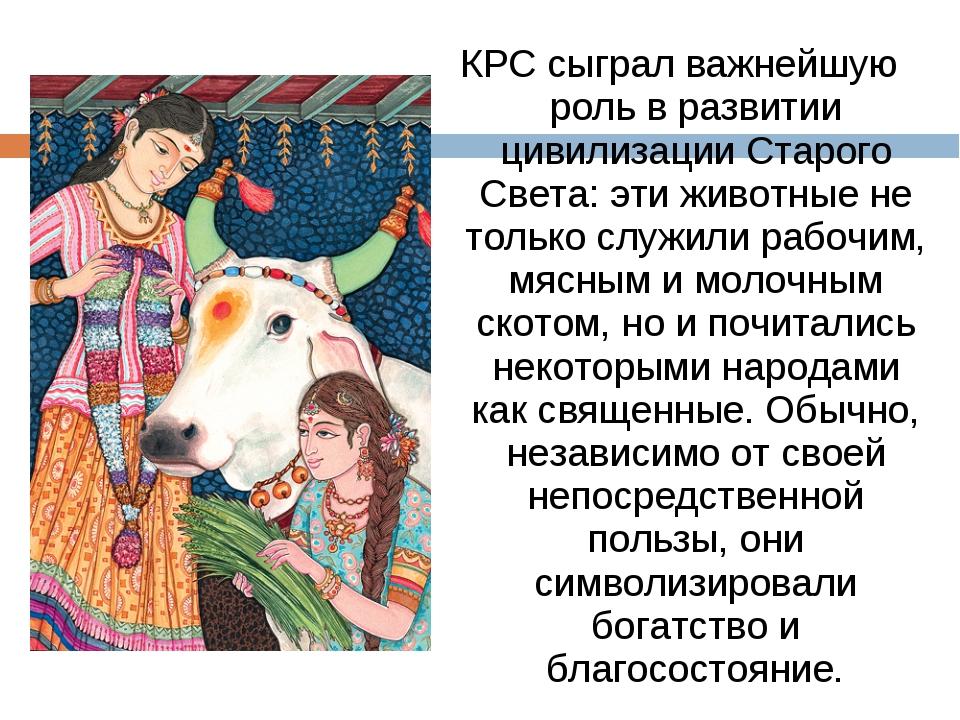 КРС сыграл важнейшую роль в развитии цивилизации Старого Света: эти животные...