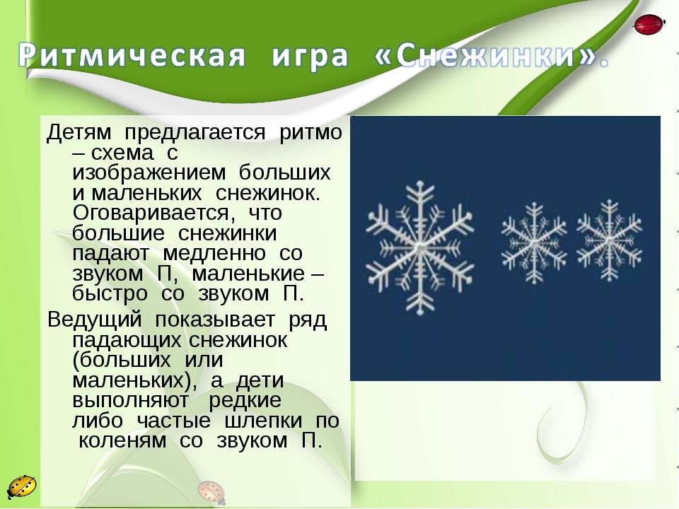 Детям предлагается ритмо – схема с изображением больших и маленьких снежинок....