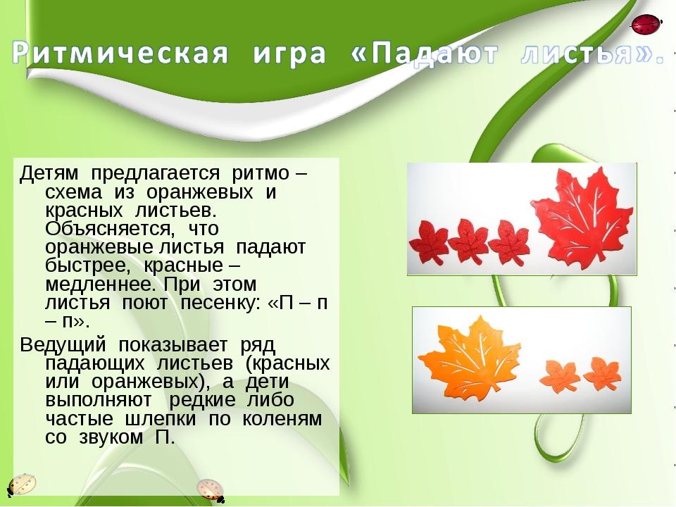 Детям предлагается ритмо – схема из оранжевых и красных листьев. Объясняется,...