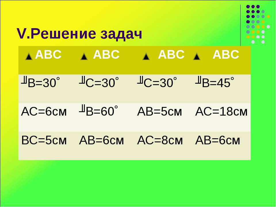 V.Решение задач АВС АВС АВС АВС ʟВ=30˚ʟС=30˚ʟС=30˚ʟВ=45˚ АС=6смʟВ=60˚...