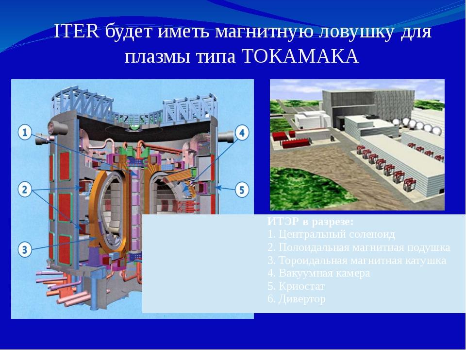 ITER будет иметь магнитную ловушку для плазмы типа ТОКАМАКА ИТЭР в разрезе: Ц...