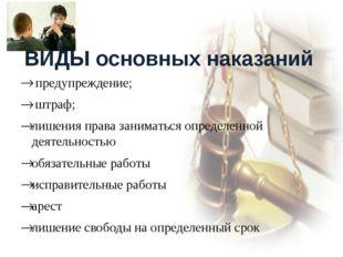 ВИДЫ основных наказаний предупреждение; штраф; лишения права заниматься опре