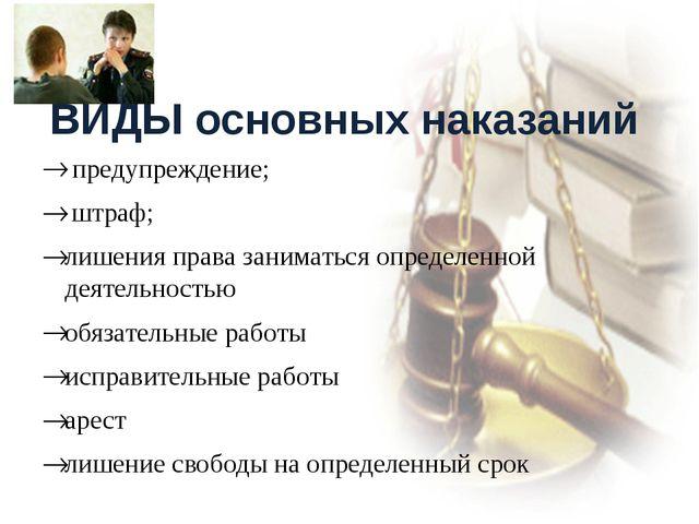 ВИДЫ основных наказаний предупреждение; штраф; лишения права заниматься опре...