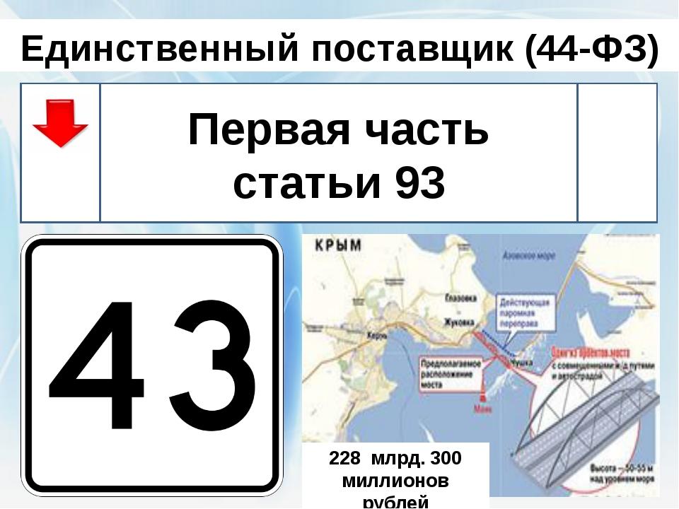 Единственный поставщик (44-ФЗ) Первая часть статьи 93 http://lidiatur.ru/user...