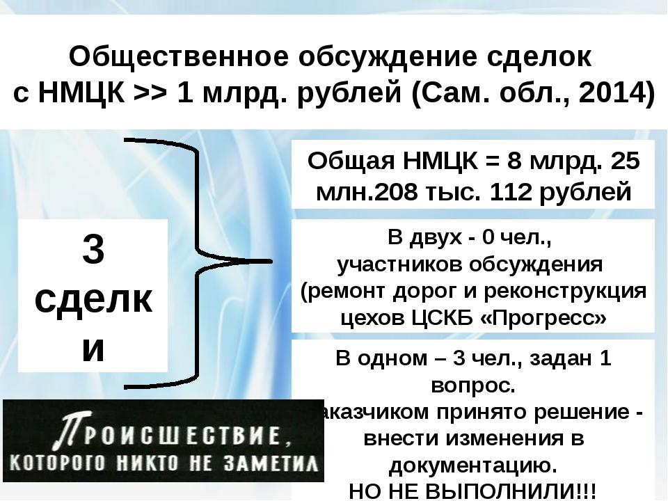 Общественное обсуждение сделок с НМЦК >> 1 млрд. рублей (Сам. обл., 2014) 3 с...