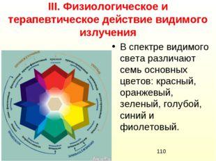 ІІІ. Физиологическое и терапевтическое действие видимого излучения В спектре