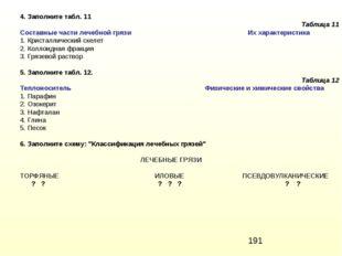 4. Заполните табл. 11 Таблица 11 Составные части лечебной грязи Их характерис
