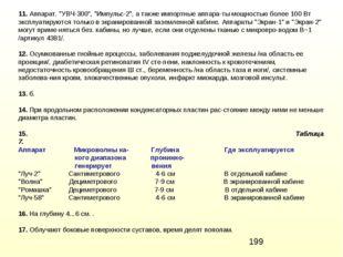 "11. Аппарат. ""УВЧ-300"", ""Импульс-2"", а также импортные аппараты мощностью бо"