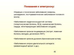 Показания к электросну: Нервные и психические заболевания (неврозы, шизофрени