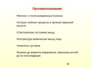 Противопоказания: Желчно- и почечнокаменные болезни Острые гнойные процессы в