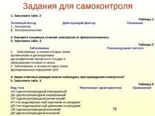 Задания для самоконтроля 1. Заполните табл. 2 Таблица 2 Лечебный метод Действ