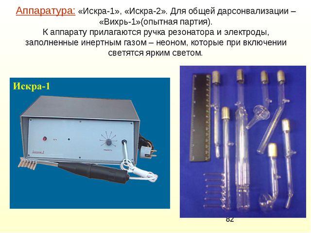 Аппаратура: «Искра-1», «Искра-2». Для общей дарсонвализации – «Вихрь-1»(опытн...