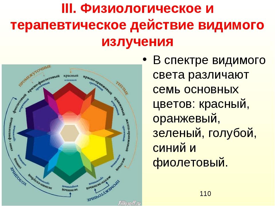 ІІІ. Физиологическое и терапевтическое действие видимого излучения В спектре...