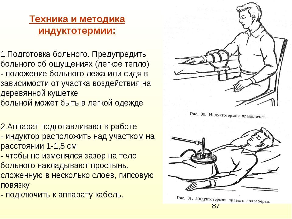 Техника и методика индуктотермии: 1.Подготовка больного. Предупредить больног...