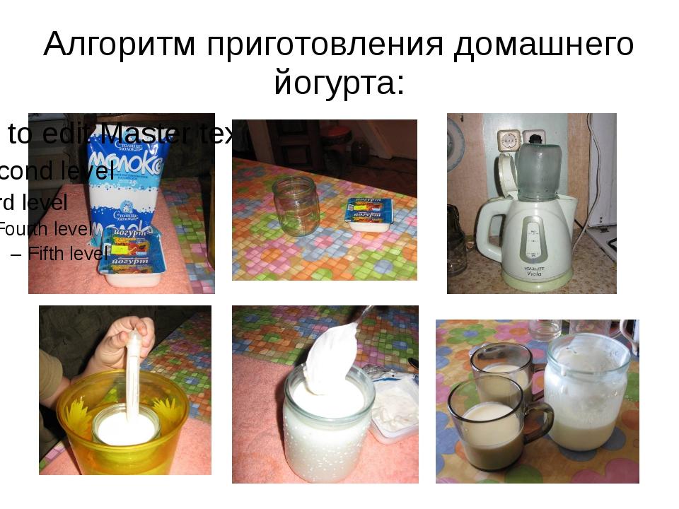 Алгоритм приготовления домашнего йогурта: