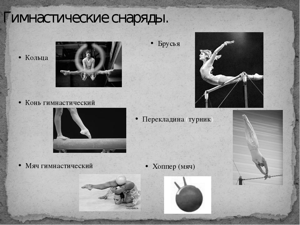 Гимнастические снаряды. Кольца Конь гимнастический Мяч гимнастический Брусья...