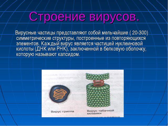 Строение вирусов. Вирусные частицы представляют собой мельчайшие ( 20-300) си...