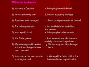 Match the sentences: 1). My name is Crabtree a. I do apologize on his behalf