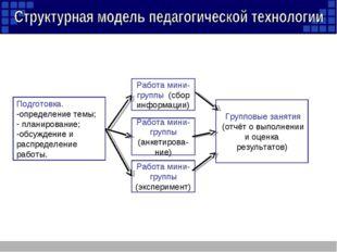 Подготовка. определение темы; планирование; обсуждение и распределение работы