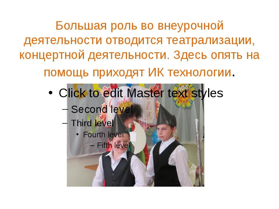 Большая роль во внеурочной деятельности отводится театрализации, концертной д...