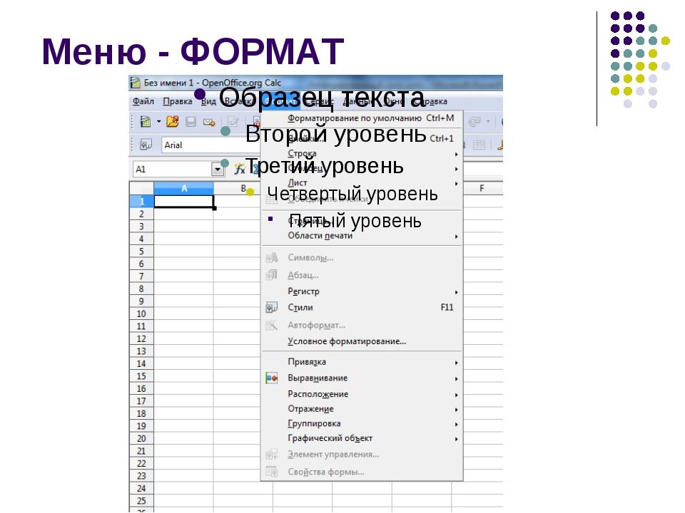 Меню - ФОРМАТ