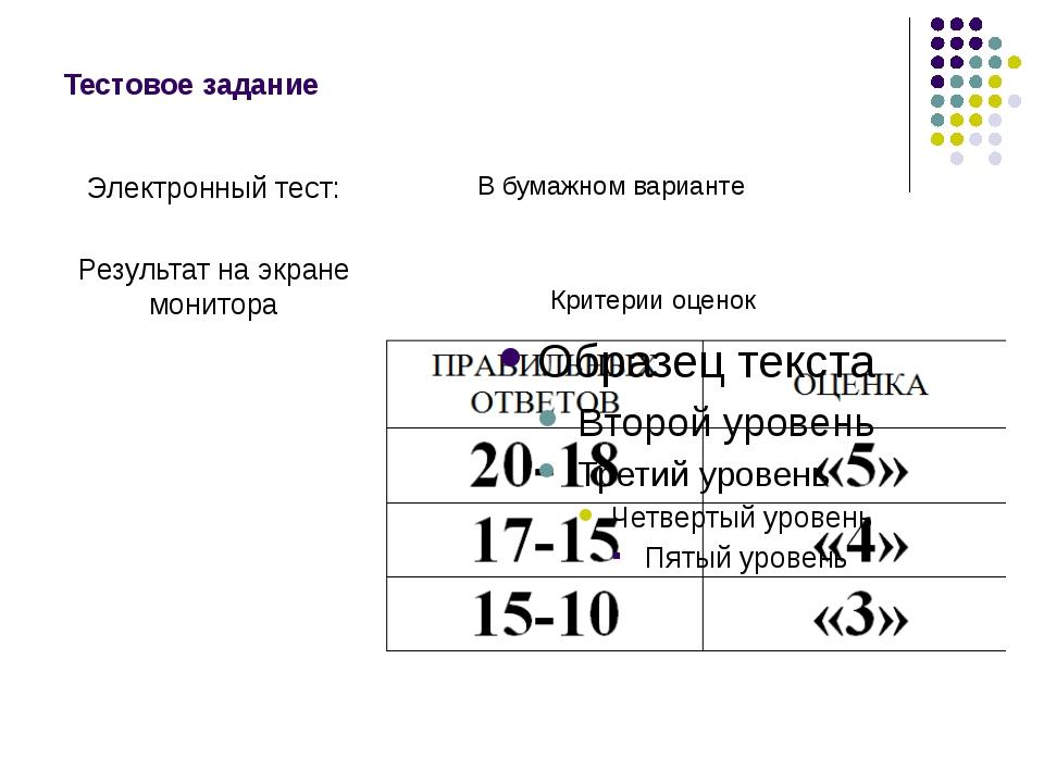 Тестовое задание Электронный тест: Результат на экране монитора В бумажном ва...