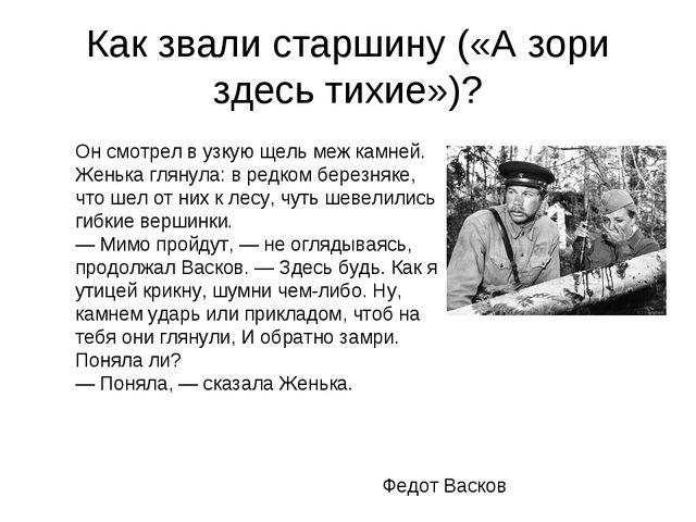 Как звали старшину («А зори здесь тихие»)? Федот Васков Он смотрел в узкую щ...