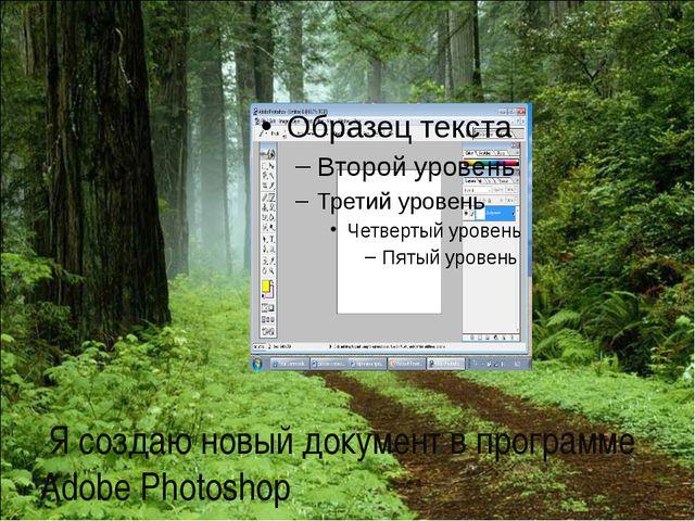 Я создаю новый документ в программе Adobe Photoshop
