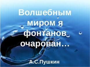 Волшебным миром я фонтанов очарован… А.С.Пушкин