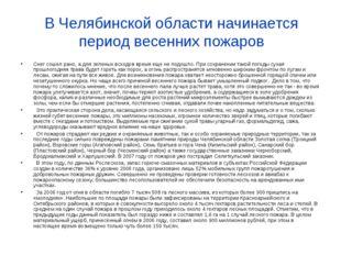 В Челябинской области начинается период весенних пожаров Снег сошел рано, а д
