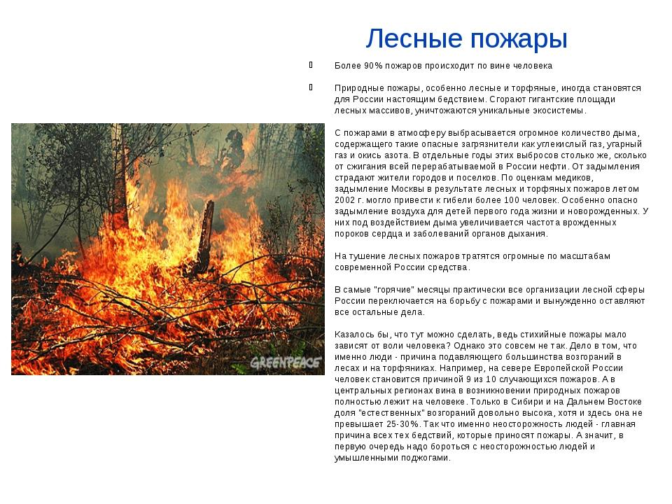 Лесные пожары Более 90% пожаров происходит по вине человека Природные пожары,...