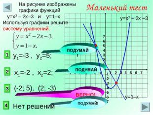 3 1 2 Маленький тест На рисунке изображены графики функций у=х2 – 2х–3 и у=1–