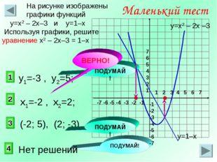 2 1 3 Маленький тест На рисунке изображены графики функций у=х2 – 2х–3 и у=1–